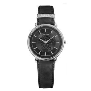 VERSACE V-CIRCLE MEDUSA WATCH In Black Leather